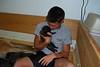 Hayden loves the puppies