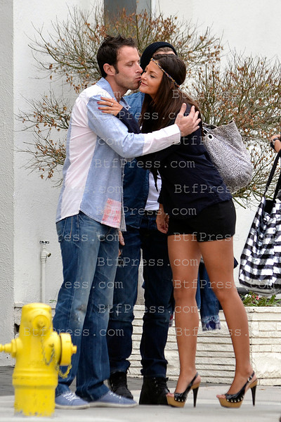 "EXCLUSIVE__ Marie and Geoffrey from Le Anges and Julia fromL'Ile de la Tentation and Fabrice Sopoglian alias Le Parrain during the filming of "" Les Anges 4 ""  in front of the French boutique "" Artisan de Luxe "" in West Hollywood, California."