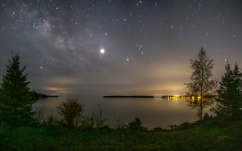 Jupiter and the Milky Way over Prentis Bay and Cedar Campus