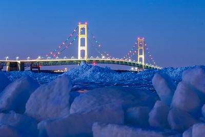 Mackinac Bridge and Ice Piles