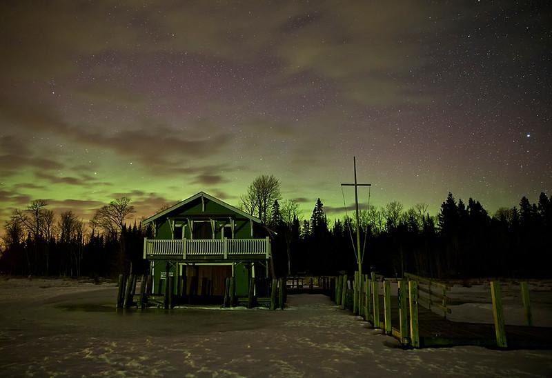 Wayside under the Northern Lights