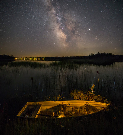 Rowboat and Prentis Bay under the Milky Way