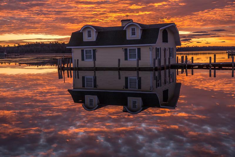 Yellow Boathouse at Sunrise