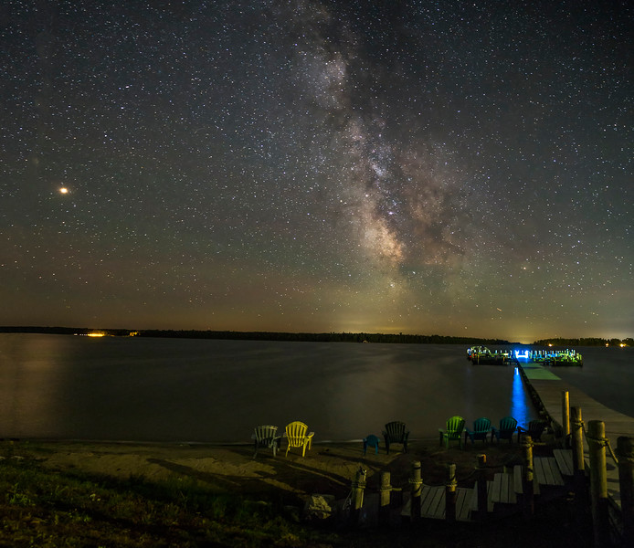 Mars and the Milky Way over Hessel Bay