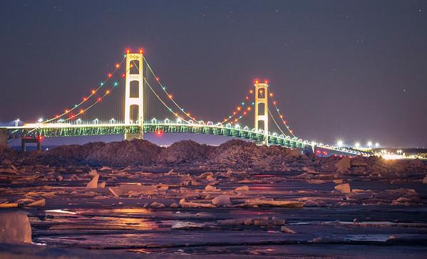 Ice Piles under the Mackinac Bridge