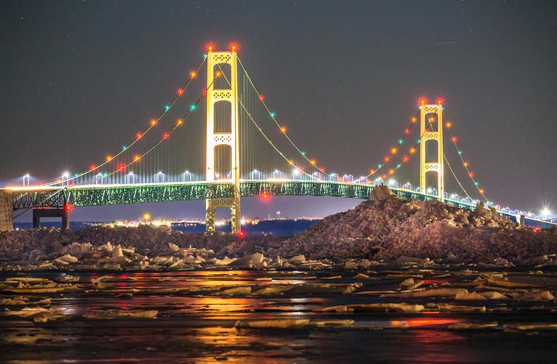 Ice Piles under the Mackinac Bridge II