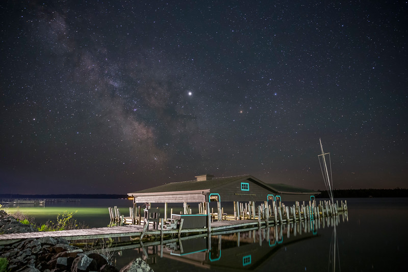 Milky Way over Hessel Bay Boathouse