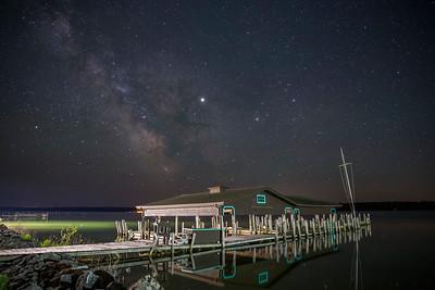 Milky Way over Hessel Bay Boathouse