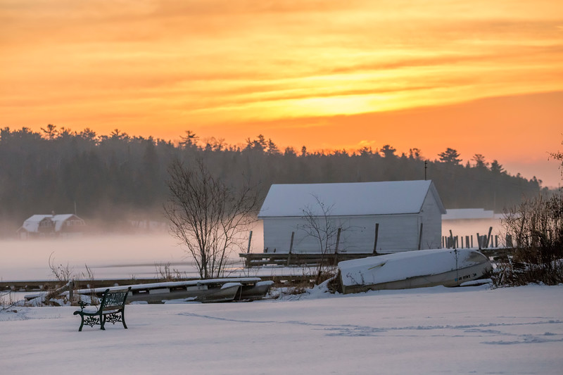 Winter Boathouse Sunrise