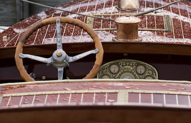 Antique Wooden Boat Cockpit