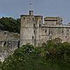 Panoramique sur château de Clisson, église et Clisson vue de la garenne Lemot
