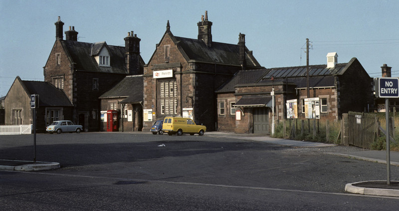 Penrith station, August 1975    An early morning shot hence the lack of cars, but NB the complete absence of marked parking bays  on the station forecourt! Photo by Les Tindall.