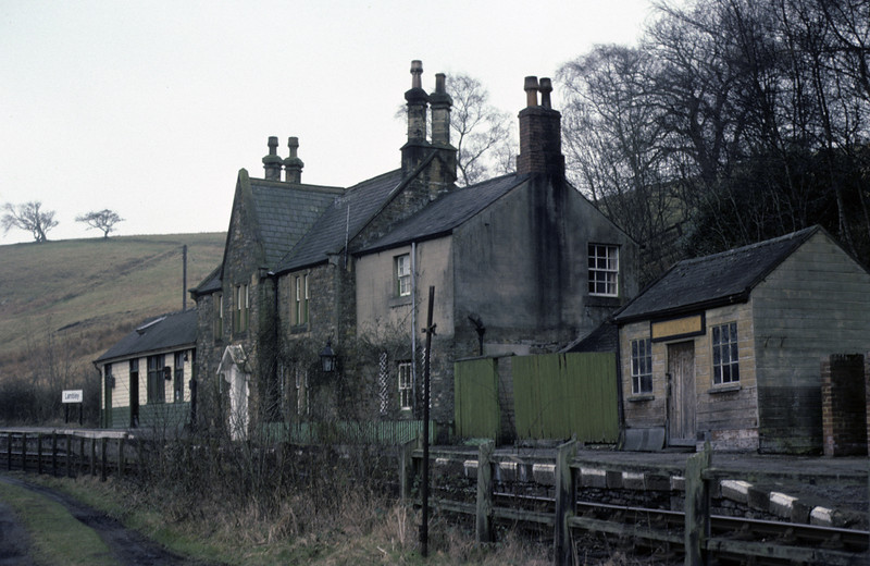 Lambley, 28 February 1976 1     The station, looking towards Alston.  It was 4.75 miles from Haltwhistle, and was staffed as late as 1966! Photo by Les Tindall.