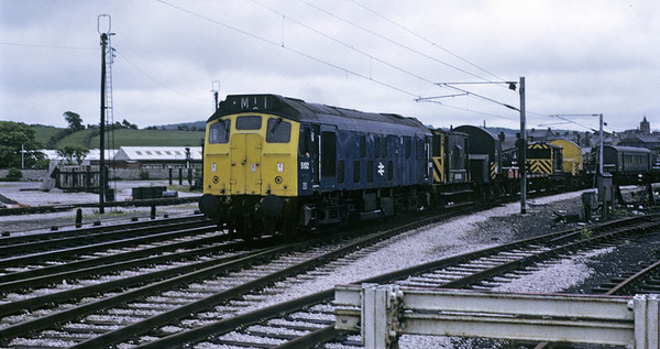 5192 [25042], Carnforth, 9 June 1973    The Rat takes an engineering train west past Steamtown.  It was withdrawn in 1986. Photo by Les Tindall.