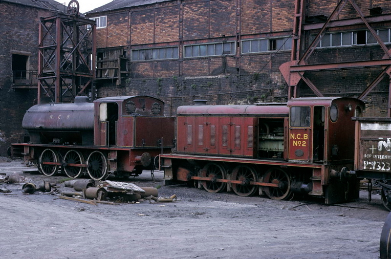 [Diana] & NCB No 2, Newmarket Colliery, 9 May 1974.  Diana was Hunslet 2879 / 1943; it had come from Wheldale early in 1974 and survives on the Caledonian Rly, Brechin.  No 2 was Hudswell Clarke 0-6-0DM D973 / 1956, since scrapped.  Photo by Les Tindall.
