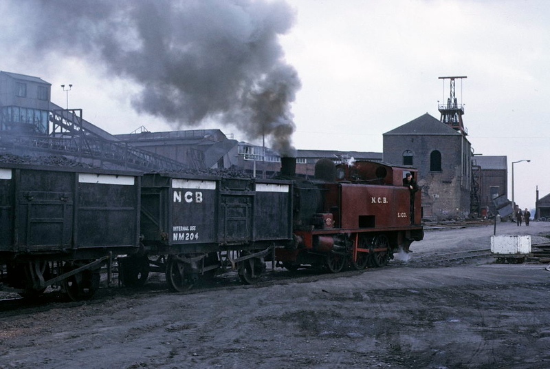 NCB S103, Newmarket Colliery, 9 May 1974 3.  Propellng wagons to the other side of the coliery across the road.  Photo by Les Tindall.