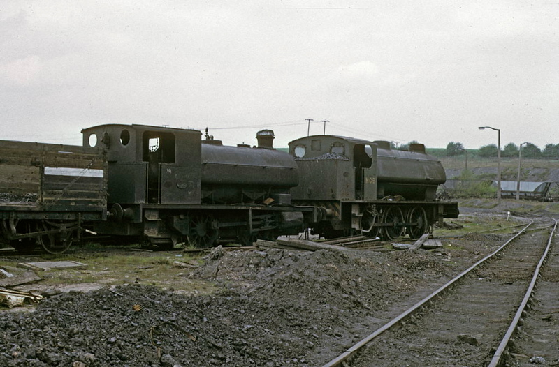 Nos 2 & 2857, Dodworth Colliery, 9 May 1974.  Hudswell Clarke 0-4-0ST 1890 / 1960 & Hunslet 2857 / 1973, both out of use.  1890 has been scrapped but 2857 survives as WD 75008 Swiftsure.  Photo by Les Tindall.