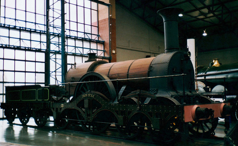 Replica Great Western Rly broad gauge 4-2-2 Iron Duke, National Rly Museum, York, 2002.