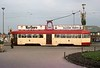 One-man tram 4, Gynn Square, Blackpool, Sat 18 October 1975.  Rebuilt English Electric railcoach, in new livery.  Photo by Les Tindall.