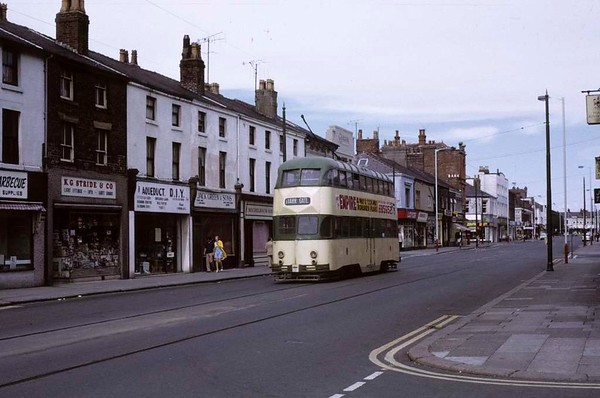 Blackpool tram 710, Fleetwood, Sun 12 August 1973. Heading away from the camera along North Albert Street at the end of its trip from Blackpool.  Photo by Les Tindall.