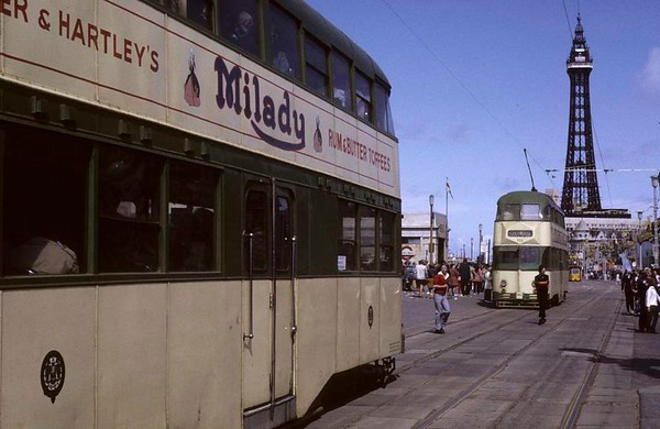 Unidentified double-deck tram & 723 (further), near the Tower, Blackpool, Sun 12 August 1973.  Photo by Les Tindall.