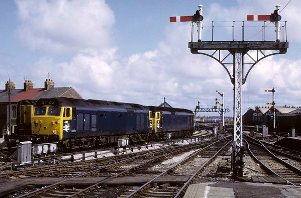 445 (50045) & 421 (50021), Blackpool North, Sun 12 August 1973.  The two class 50s are stabled with an unidentified 08 shunter behind.  Photo by Les Tindall.