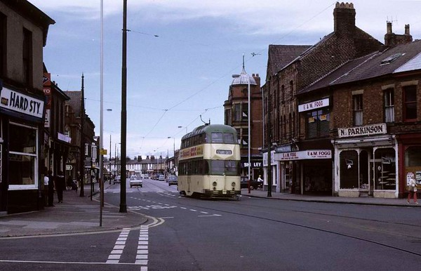 Blackpool tram 720, Fleetwood, Sun 12 August 1973.  Approaching along North Albert Street on its way back to Blackpool.  Photo by Les Tindall.