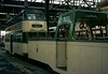 Rigby Road depot, Blackpool, Sat 18 October 1975 3.  Boat car 604 & balloon car.  Photo by Les Tindall.