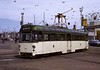 Twin-car tram 674, Blackpool, Sun 12 August 1973.  Arriving at the turning loop at Pleasure Beach.  Photo by Les Tindall.