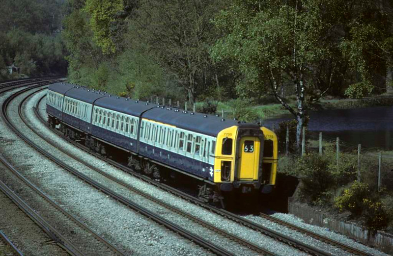 7735, Brookwood, Sat 10 May 1980.  A 4-VEP / class 423/0 EMU on the 1027 Basingstoke - Waterloo.  Photo by Les Tindall.