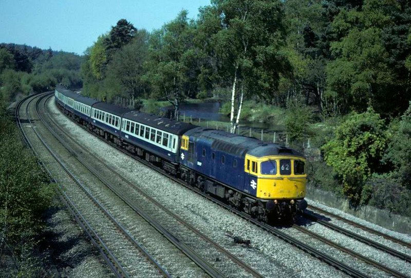 33007, Brookwood, Sat 10 May 1980.  The 0737 Exeter - Waterloo.  Photo by Les Tindall.