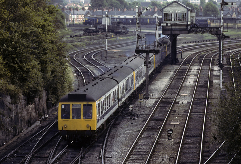 A Manchester - Llandudno train fomed of four two-car DMUs passes Chester No 6 box, Sat 28 July 1979.  Photo by Les Tindall.