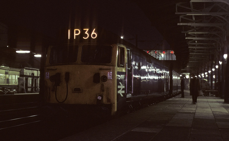 436, 1P36, Crewe, 6 October 1972    The 1705 Euston - Blackpool and Barrow.  The future 50036 was withdrawn in 1991.  Photo by Les Tindall.