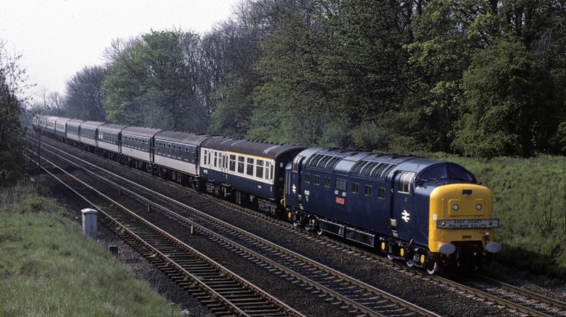 55012 Crepello, High Dyke, 20 May 1978.  The Deltic heads the King's Cross - Leeds leg of the East Coast Pullman Salute railtour.  This was the official BR farewell to ECML Pullman services.  37037 & 37102 took the train from Leeds to Harrogate, Scarborough, Goole and back to King's Cross.  Crepello continued north on the Leeds - Settle - Edinburgh leg of the Thames-Forth railtour from St Pancras.  Photo by Les Tindall.