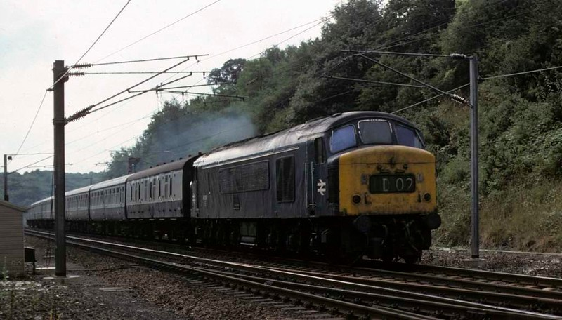 46039, 1D02, Woolmer Green, Sat 23 August 1975.  The 1220 King's Cross - Scarborough.  Photo by Les Tindall.