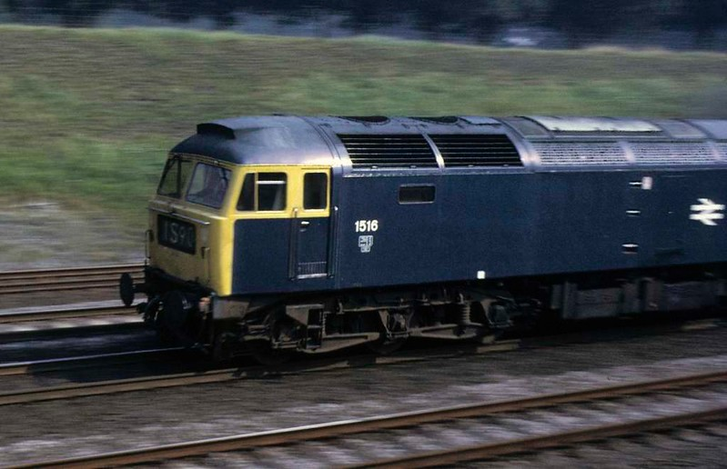 1516 (47417), 1S90, near Essendine, Sat 8 September 1973.  The 1100 King's Cross - Edinburgh.  In 2016 this loco was preserved at the Midland Railway Centre.  Photo by Les Tindall.