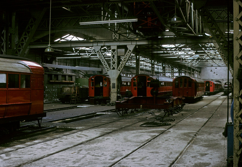 Broomloan Road workshops, Glasgow Underground, 11 May 1974 1.  Photo by Les Tindall.