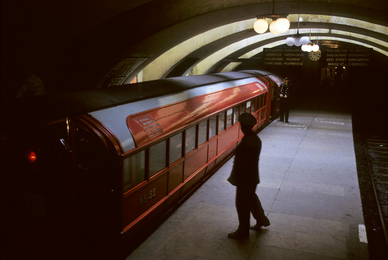 Kinning Park station, Glasgow Underground, 11 May 1974 2.    Car No 52 is on an outer circle (clockwise) working. Photo by Les Tindall.