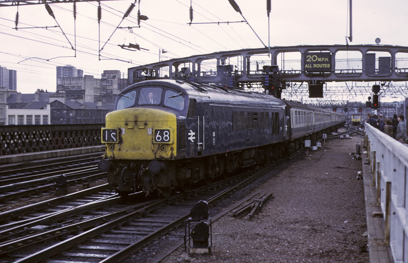 24, 1S68, Glasgow Central, 11 May 1974    Arriving with the 'Thames-Clyde Express' from St Pancras via Leeds.  This loco became 45027, and was withdrawn in 1981.  Photo by Les Tindall.