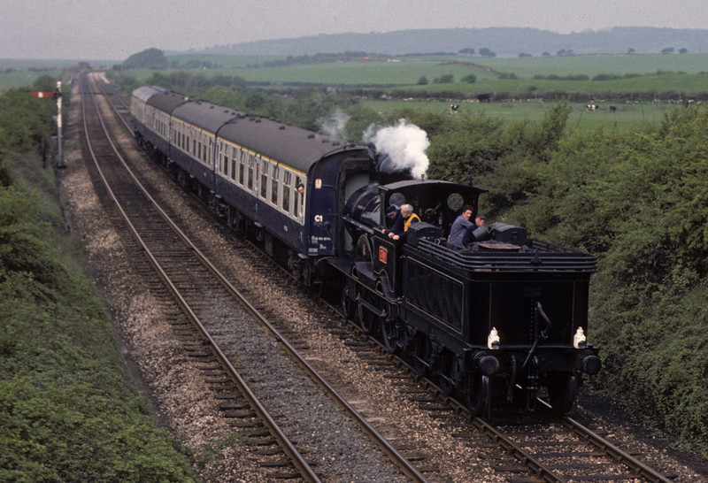 LNWR 2-4-0 790 Hardwicke, Carnforth, Sun 9 May 1976    Returning with the first shuttle from Grange-over-Sands. Photo by Les Tindall.