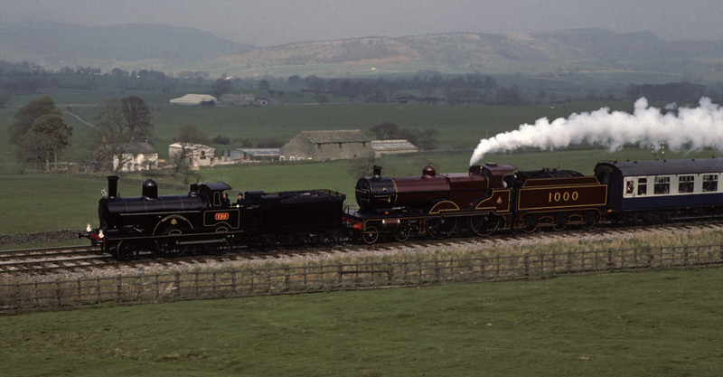 LNWR 2-4-0 790 Hardwicke & Midland 4-4-0 1000, approaching Clapham, Sat 24 April 1976 Photo by Les Tindall.