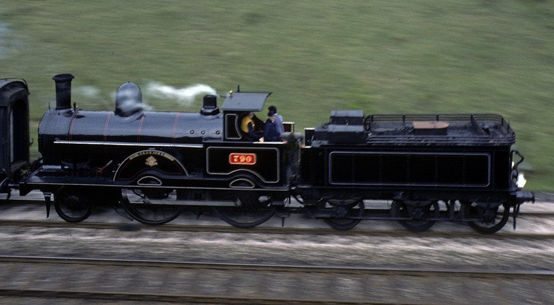 LNWR 2-4-0 790 Hardwicke, Carnforth, Sun 9 May 1976    Returning from Grange-over-Sands with the second shuttle. Photo by Les Tindall.