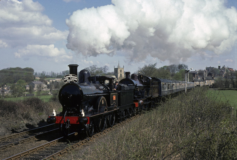 LNWR 2-4-0 790 Hardwicke & Midland 4-4-0 1000, Knaresborough, Sat 24 April 1976.    Here are three shots of the celebrity duo working the Gainsborough Model Rly Society's York - Carnforth 'London & North Western & Midland Railways Joint Tour'. Photo by Les Tindall.