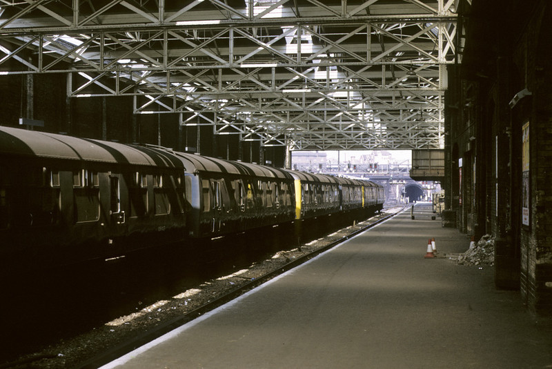 E56427 etc, King's Cross station, 13 April 1974.  Cravens class 106 DMUs stabled on the suburban side.  Photo by Les Tindall.