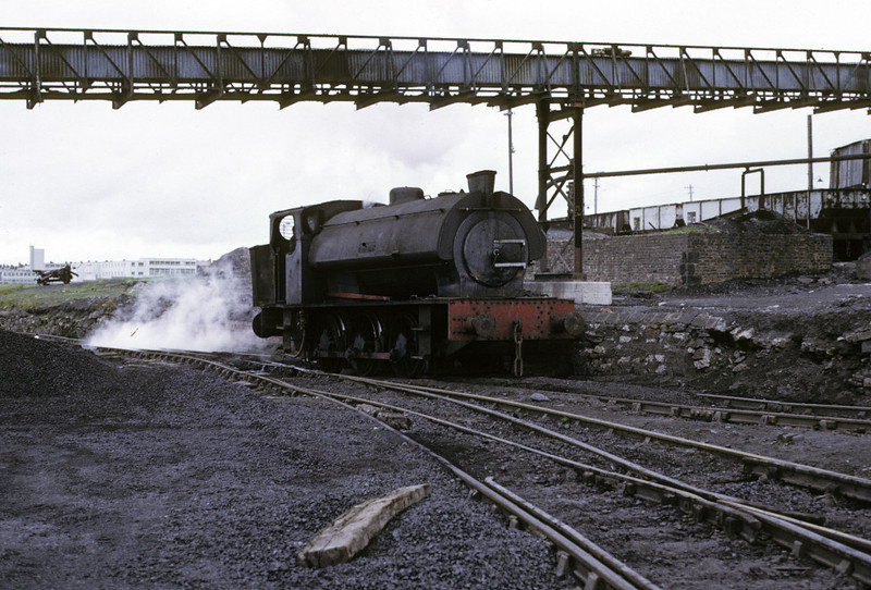 Warspite, Ladysmith coal washery, Whitehaven, 9 June 1973 1.    Hunslet 3778 / 1952, later scrapped.  This loco originally worked at nearby Harrington.  Photo by Les Tindall.