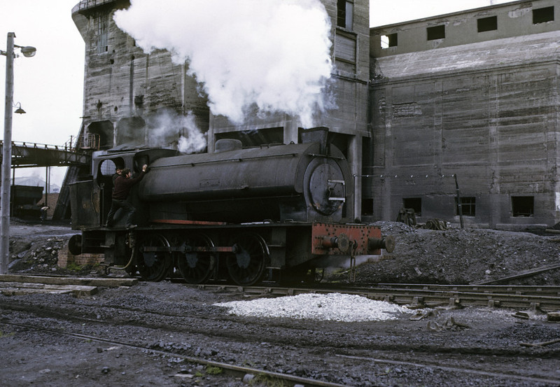 Warspite, Ladysmith coal washery, Whitehaven, 9 June 1973 2.  As well as a Giesl ejector it was fitted with a mechanical stoker, hence the extended bunker.  Photo by Les Tindall.