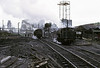 Warspite (left) & Respite, Ladysmith coal washery, Whitehaven, 9 June 1973.     Respite is Hunslet 0-6-0ST 3696 / 1950, and it survives.  It was delivered new to the National Coal Board's Walkden Rly in Lancashire, where it worked at Astley Green coliery, Tyldesley, until closure in 1970.  It arrived at Whitehaven in 1972, and following closure moved to Bickershaw colliery, Leigh in 1975.   Photo by Les Tindall.