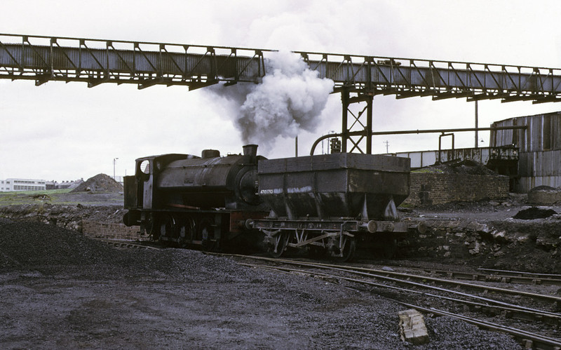 Warspite, Ladysmith coal washery, Whitehaven, 9 June 1973 4.    Shunting a wagon up to the washery.  Photo by Les Tindall.