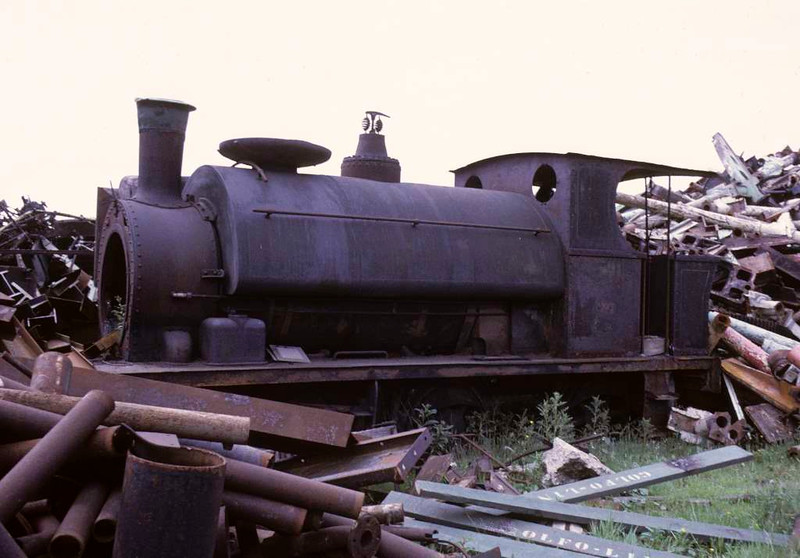 Avonside 0-6-0ST 1600 / 1912, Holt & Gordon scrap dealers, Chequerbent, Westhoughton, 15 June 1973.  In 2016 this was privately preserved at Blackrod.  Photo by Les Tindall.