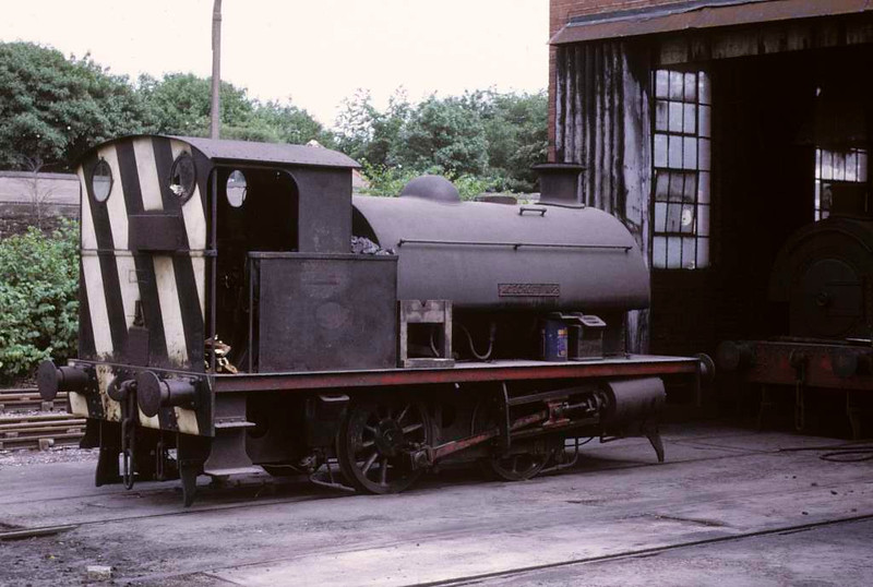 Agecroft No 2, Agecroft power station, 15 June 1973.  Robert Stephenson & Hawthorns 0-4-0ST 7485 / 1948 outside the shed.  In 2016 it was on static display at the Ribble Steam Railway.  Photo by Les Tindall.